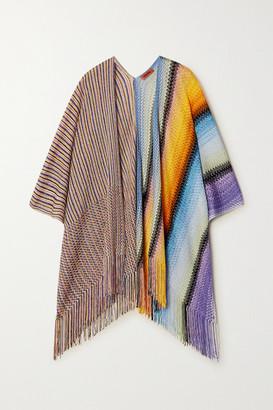 Missoni Fringed Striped Crochet-knit Wrap - Blue