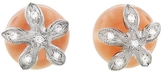 Cathy Waterman Peach Moonstone Flower Cap Stud Earrings
