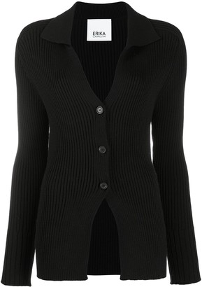 Erika Cavallini Virgin Wool Ribbed Cardigan
