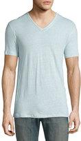 John Varvatos Pintuck-Seam V-Neck Short-Sleeve T-Shirt, Beach Glass
