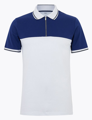 Marks and Spencer Pure Cotton Half Zip Polo Shirt