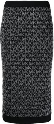 MICHAEL Michael Kors Knitted Logo Midi Skirt