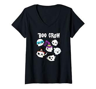 Womens Halloween BOO CREW Ghosts Cute Costume Boy Girl Toddler Kids V-Neck T-Shirt