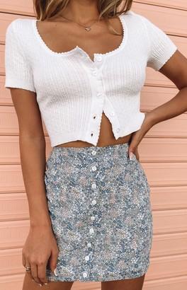 Bb Exclusive Jane Button Mini Skirt Blue Floral