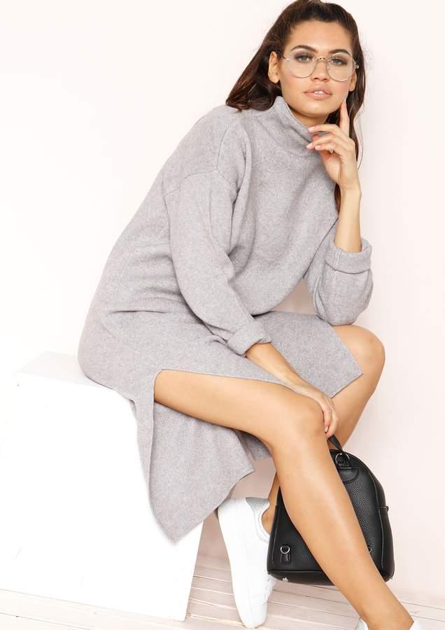 e695c7dcf7 Long Sleeve Grey Jumper Dress - ShopStyle UK