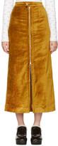 Eckhaus Latta Gold Velvet Zip Front Skirt