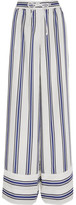 Sacai Striped Voile Wide-leg Pants - White