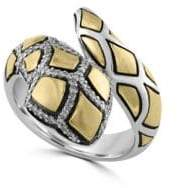 Effy Diamond, Sterling Silver and 18K Yellow Gold Snake Ring