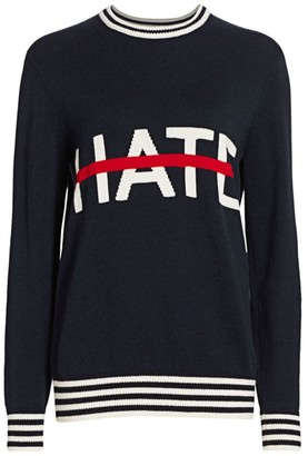 Michael Kors No Hate Intarsia Cashmere Crewneck Sweater