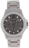 Fossil CE1063 Women's Riley Antique Pearl Steel Watch w/ Crystal Accents