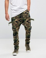 Asos Drop Crotch Pants With Taping In Camo