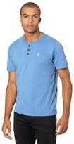 St George By Duffer Blue Plain Button Neck T-shirt