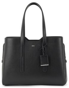 HUGO BOSS Zipped tote bag in grained Italian leather
