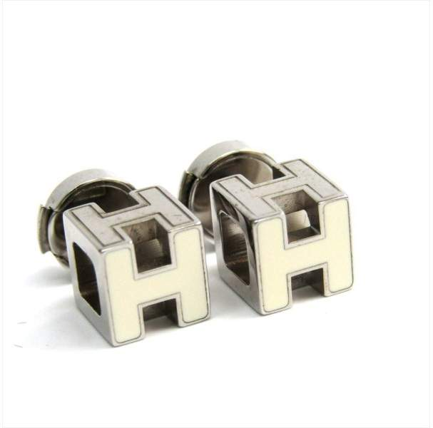 Hermes Silver Tone Hardware Cage Stud Earrings