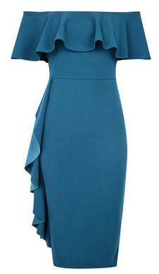 Dorothy Perkins Womens **Luxe Teal Ruffle Bardot Dress