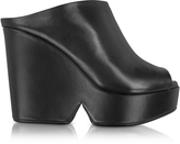 Robert Clergerie Dina Black Leather Wedge Mule