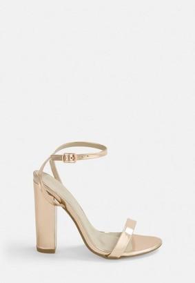Missguided Gold Block Heel Sandals