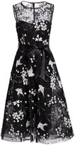 Teri Jon By Rickie Freeman Avian & Floral Beaded Tie-Waist Tulle A-Line Dress