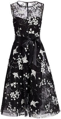 Teri Jon By Rickie Freeman Avian & Floral Beaded Tie-Waist Tulle A-Line Dress