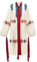 Loewe Balloon-sleeve Floral-embroidered Wool Dress - Womens - Ivory