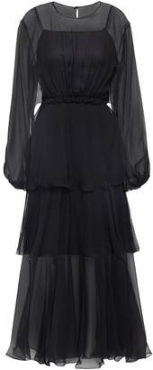 Alberta Ferretti Tiered Silk-georgette Midi Dress