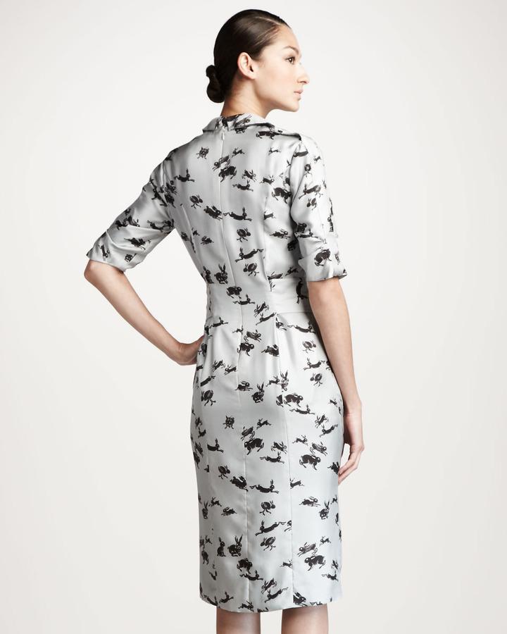 Carolina Herrera Rabbit-Print Twill Shirtdress