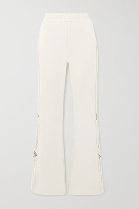 adidas by Stella McCartney Image Printed Organic Cotton-jersey Flared Track Pants - Beige