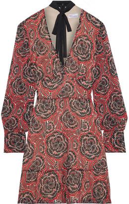 RED Valentino Pussy-bow Printed Silk-blend Chiffon Mini Dress