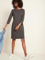 Old Navy Slub-Knit Ponte 3/4-Sleeve Sheath Dress for Women