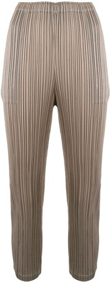 Pleats Please Issey Miyake Pleated Slim-Fit Trousers