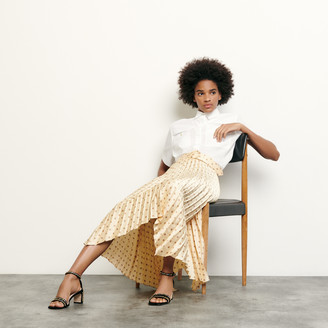 Sandro Pleated and printed skirt with belt