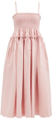Molly Goddard Marlene Shirred Cotton-scuba Midi Dress - Light Pink