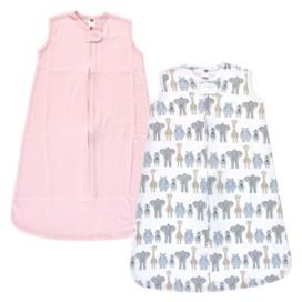 Hudson Baby Girls Safari Interlock Sleeveless Sleeping Bag, Pack of 2