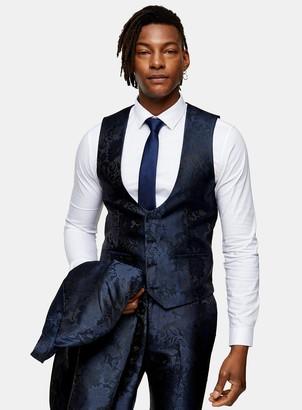 Topman Navy Jacquard Skinny Fit Suit Waistcoat