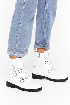 Nasty Gal Womens Hey Stud Lookin' Faux Leather Buckle Boots - White - 3