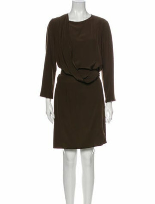 Hermes Silk Mini Dress Brown