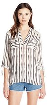Jolt Women's Long Sleeve Striped Open Back Woven Top