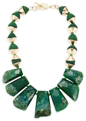 Akola Green Agate & Raffia Slab Necklace