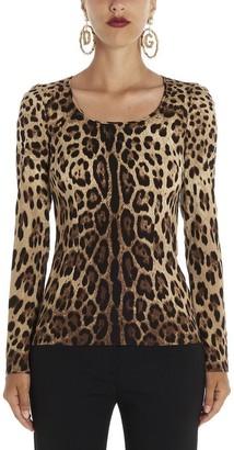 Dolce & Gabbana Leopard Print Crewneck Blouse