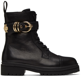Versace Black Belted Lace-Up Ankle Boots