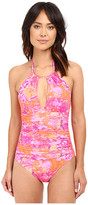 Lauren Ralph Lauren Oceania Floral High Neck One-Piece Slimming Fit w/ Removable Cup