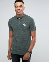 Abercrombie & Fitch Pique Polo Slim Fit Exploded Tonal Icon In Green Marl
