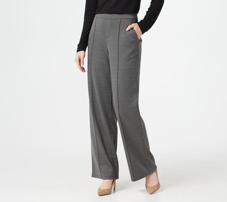 Halston H By H by Regular Wide- Leg Herringbone Pull-On Pants with Pintuck