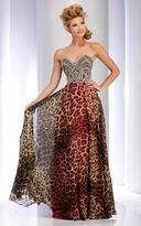 Clarisse - 2706 Jeweled Animal Print Strapless Gown