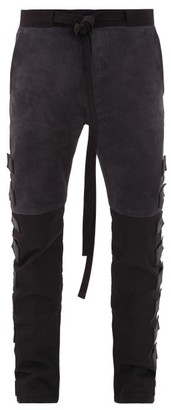 Fear Of God Velcro-patch Suede And Technical-panel Trousers - Mens - Black