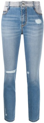 Ermanno Scervino Rhinestone-Embellished Mid-Rise Skinny Jeans
