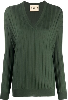 Plan C Ribbed V-Neck Jumper
