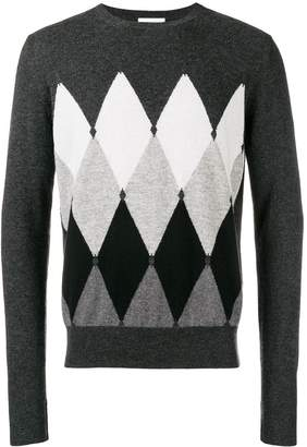 Ballantyne cashmere diamond pattern jumper