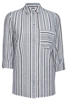 Dorothy Perkins Womens Multi Colour Striped Linen Shirt