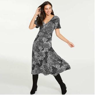 Joe Fresh Women's Print V-Neck Dress, Black (Size 4)